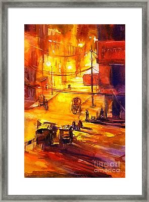 Watercolor Painting Of Kathmandu Street- Nepal Framed Print by Ryan Fox