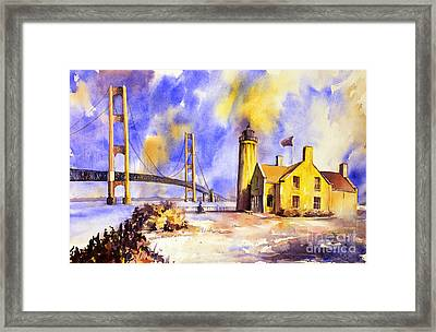 Watercolor Painting Of Ligthouse On Mackinaw Island- Michigan Framed Print by Ryan Fox