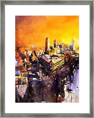 Watercolor Painting Of Raleigh North Carolina Skyline Framed Print by Ryan Fox