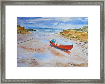 Watercolor Painting Of Red Boat Framed Print