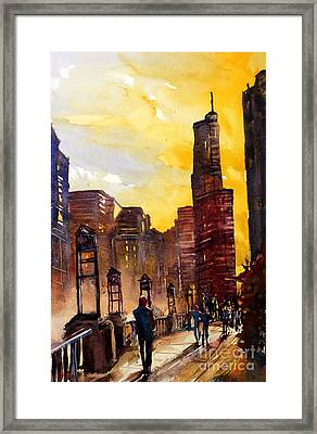 Watercolor Painting Of Skyscrapers Of Downtown Chicagoill Framed Print by Ryan Fox