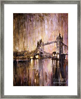 Watercolor Painting Of Tower Bridge London England Framed Print by Ryan Fox
