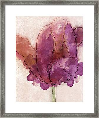 Watercolor Plum Tulip Framed Print by South Social Studio