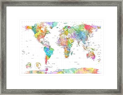 Watercolor Political Map Of The World Framed Print