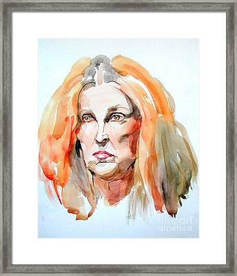 Framed Print featuring the painting Watercolor Portrait Of A Mad Redhead by Greta Corens