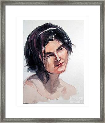 Watercolor Portrait Of A Young Pensive Woman With Headband Framed Print