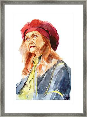 Watercolor Portrait Of An Old Lady Framed Print