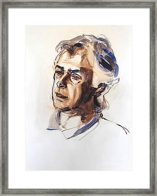 Watercolor Portrait Sketch Of A Man In Monochrome Framed Print