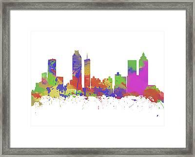 Watercolor Print Of The Skyline Of Atlanta Georgia  Framed Print by Chris Smith