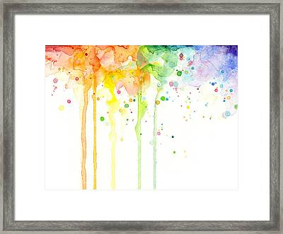 Watercolor Rainbow Framed Print by Olga Shvartsur