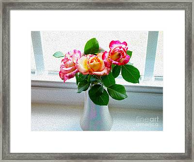Watercolor Roses Framed Print by Candy Frangella
