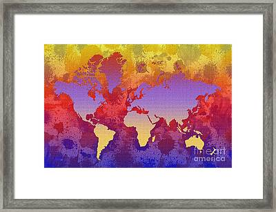 Watercolor Splashes World Map On Canvas Framed Print by Zaira Dzhaubaeva