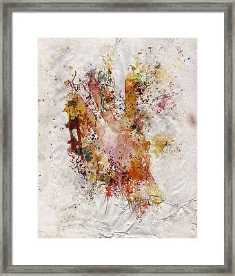 Human Body Hand Watercolor Paint Old Paper Framed Print by Andy Gimino