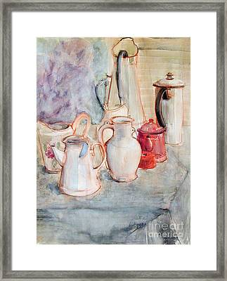 Watercolor Still Life With Red Can Framed Print