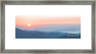 Watercolor Sunrise In The Blue Ridge Mountains Framed Print
