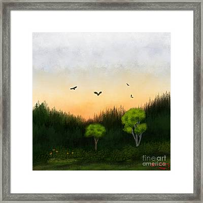 Watercolor Sunset 2 Framed Print