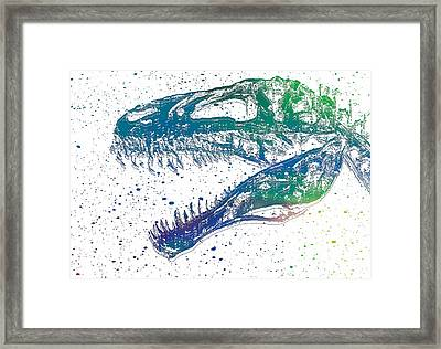 Watercolor T Rex Framed Print