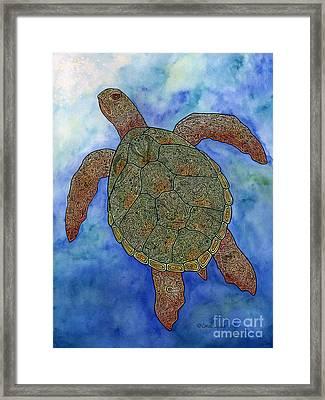 Watercolor Tribal Turtle  Framed Print by Carol Lynne