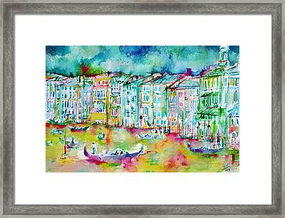 watercolor VENICE - CANAL GRANDE Framed Print