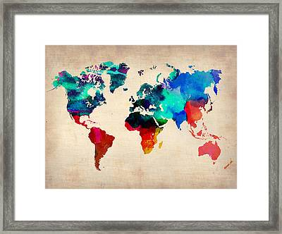 Watercolor World Map 3 Framed Print by Naxart Studio