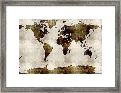 Watercolor World Map Framed Print by Celestial Images