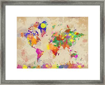 Watercolor World Map On Old Canvas Framed Print by Zaira Dzhaubaeva
