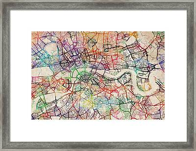 Watercolour Map Of London Framed Print by Michael Tompsett