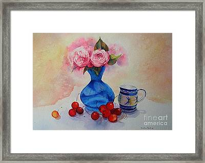 Framed Print featuring the painting Watercolour Roses And Cherries by Beatrice Cloake