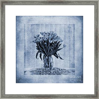 Watercolour Tulips In Blue Framed Print by John Edwards
