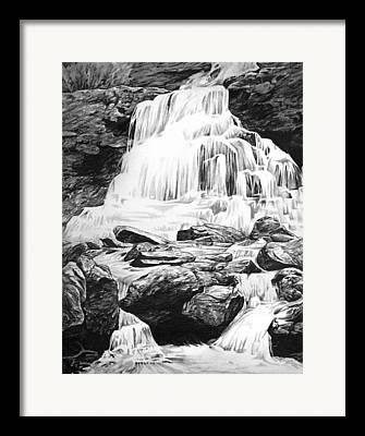 Water Flowing Drawings Framed Prints