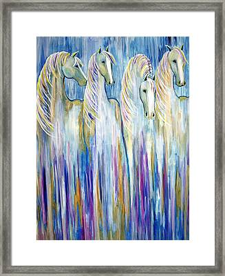 Waterfall Abstract Horses Framed Print
