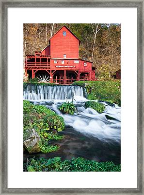 Waterfall And Hodgson Mill - Missouri Framed Print