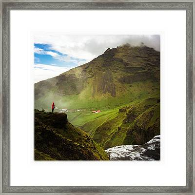 Waterfall And Mountain In Iceland Framed Print