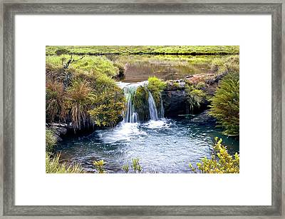 Waterfall And Pool Framed Print by K Jayaram