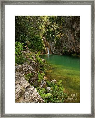 Waterfall And Pool Paradise - Cuba Framed Print by OUAP Photography