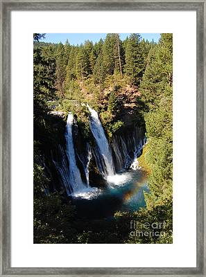 Framed Print featuring the photograph Waterfall And Rainbow by Debra Thompson