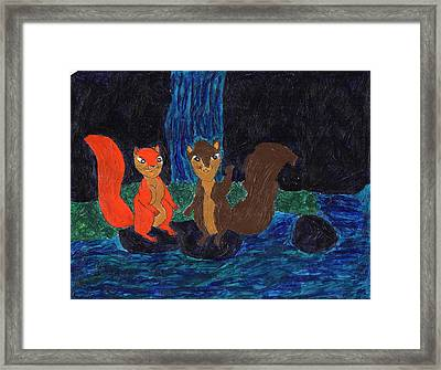 Waterfall And Squirrel Lovers Framed Print by Frances Garry