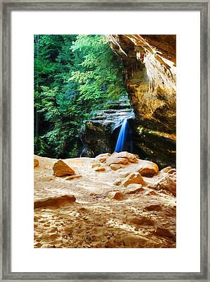 Waterfall At Cliff Side Framed Print by Optical Playground By MP Ray