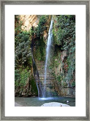 Waterfall At Ein Gedi Framed Print by Doc Braham