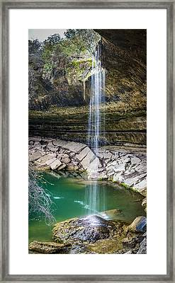 Waterfall At Hamilton Pool Framed Print