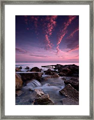 Waterfall At Sunrise Framed Print