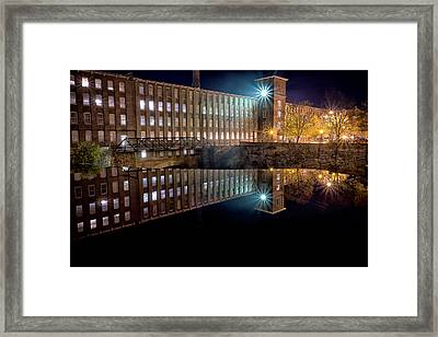 Waterfall At The Cocheco Mill At Night Framed Print by Jeff Sinon