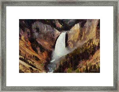 Framed Print featuring the painting Waterfall At Yellowstone National Park by Kai Saarto