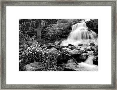 Waterfall Black And White Framed Print by Aaron Spong
