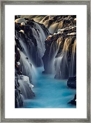 Waterfall Blues Framed Print by Mike Berenson