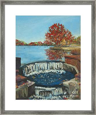 Waterfall Brookwood Hall Framed Print by Susan Herbst