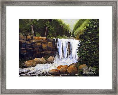 Framed Print featuring the painting Waterfall by Carol Hart