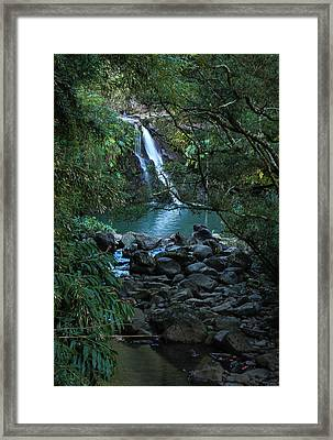 Framed Print featuring the photograph Waterfall  by Cathy Donohoue