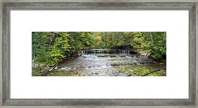 Waterfall In A Forest, Au Train Falls Framed Print