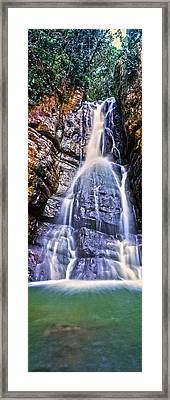 Waterfall In A Forest, La Mina Falls Framed Print